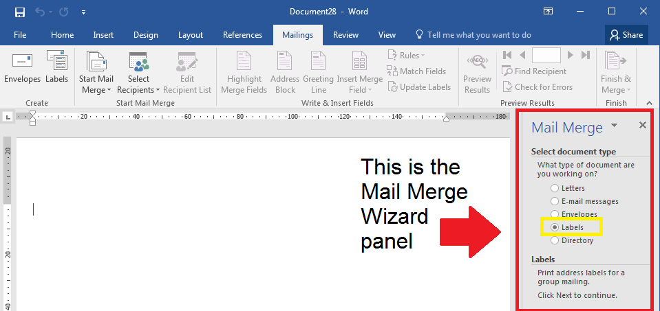 How to select document type in a mail merge