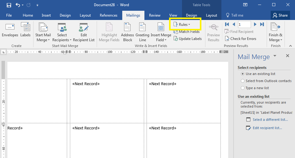 How to select recipients in a mail merge