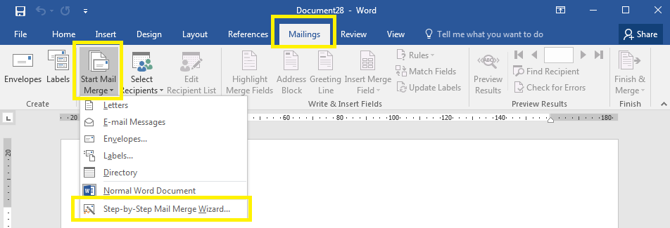 Start the Mail Merge Wizard in Word