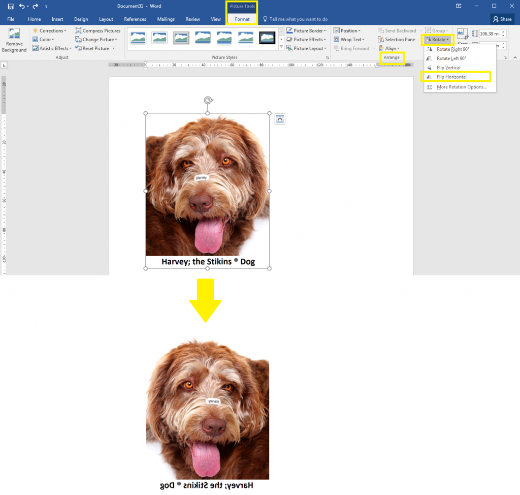 How to flip images in Word