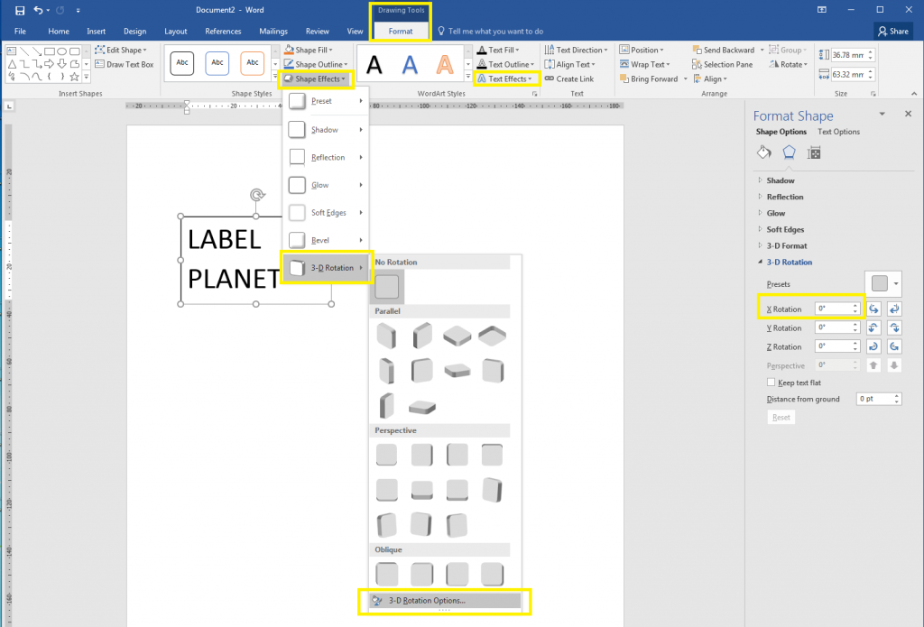 How to rotate WordArt and text boxes in Word, part one