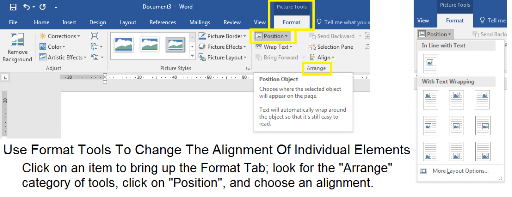 Set an alignment for individual elements within your template design