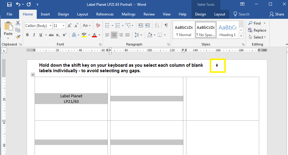 Using copy and paste in label templates with gaps between columns