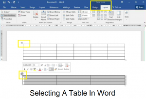 Selecting a table in Word