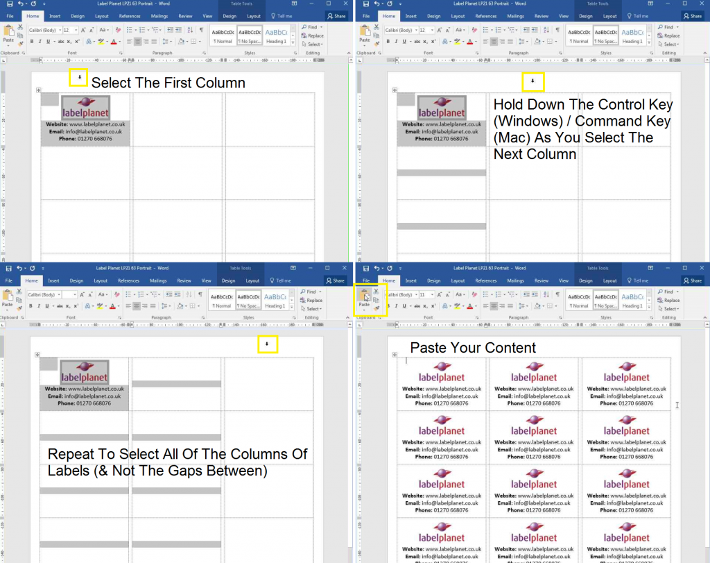 How to copy and paste designs in templates with gaps between the columns