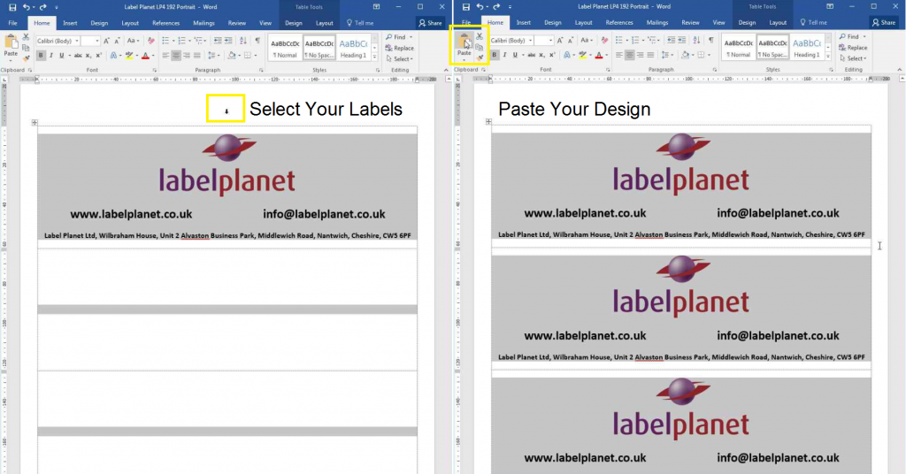 How to copy and paste designs in templates with no gaps