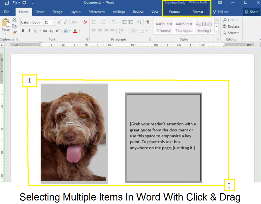 Select Multiple Items In Word Label Templates Using Click & Drag