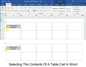 Selecting the contents of a table cell in Word