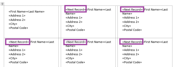 Label Template - Next Record Rule In Mail Merge