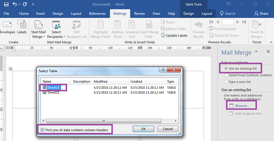 How To Select Recipients In Word's Mail Merge