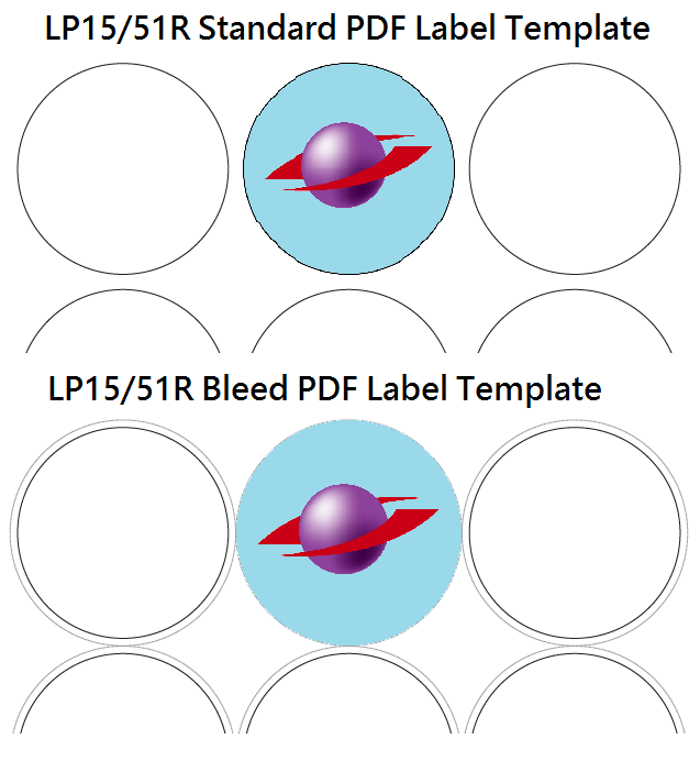 The difference between standard and bleed PDF label templates
