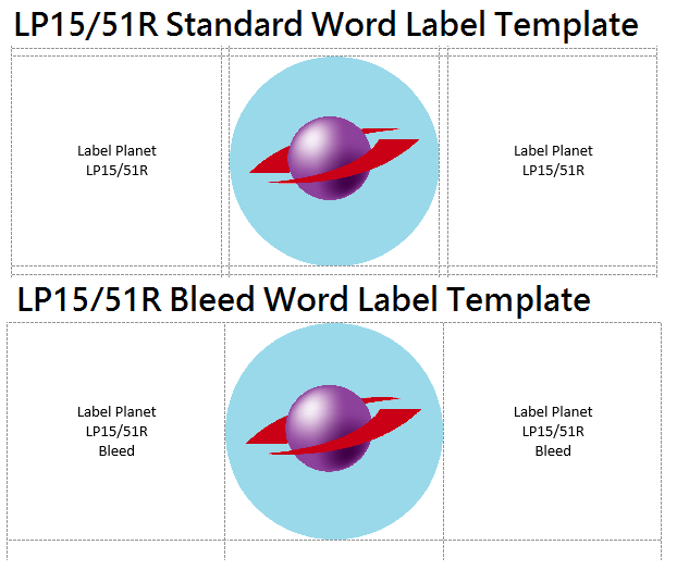 The difference between standard and bleed label templates in Word