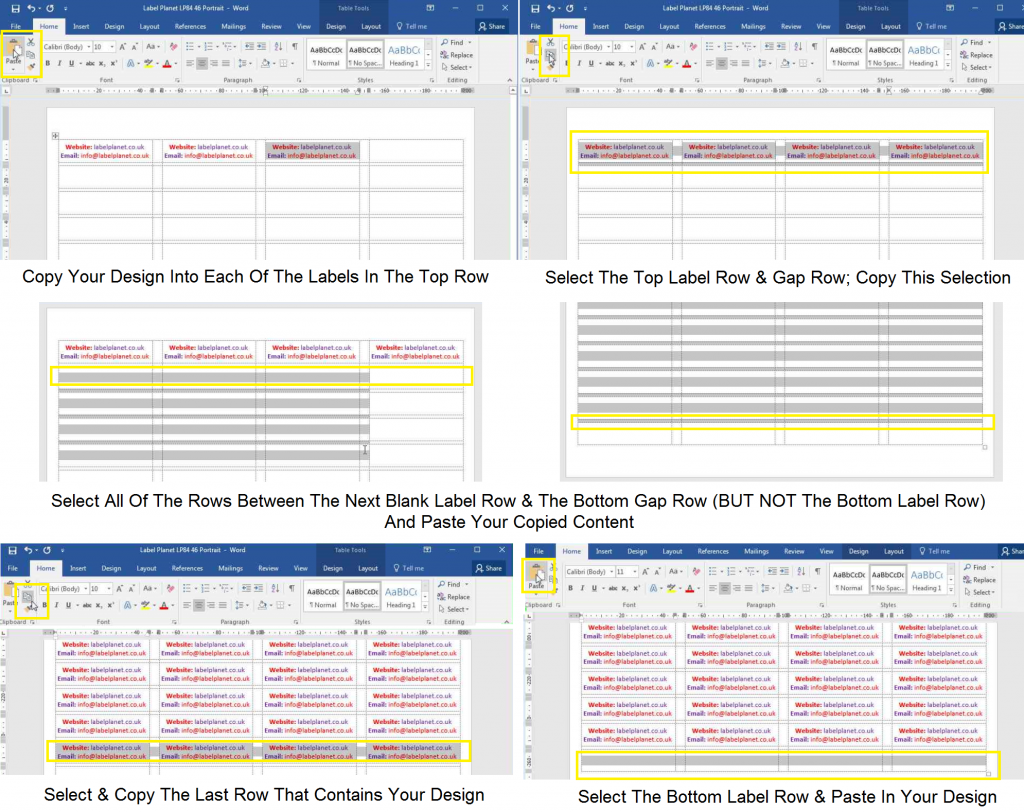 How to copy and paste designs in templates with gaps between the columns and rows