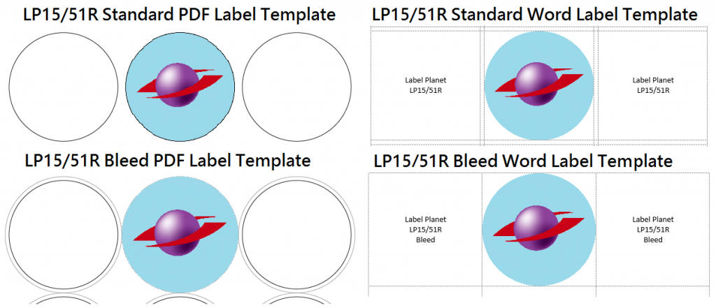 Word and PDF bleed label templates