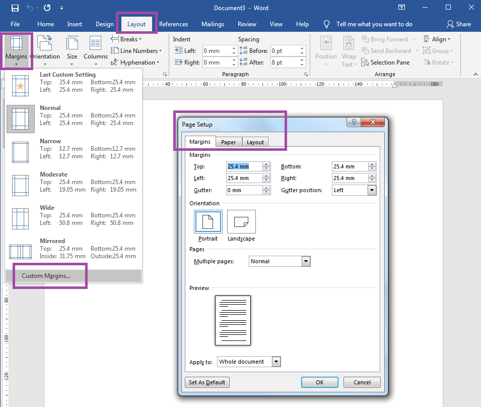 How to change page margins in Word label templates