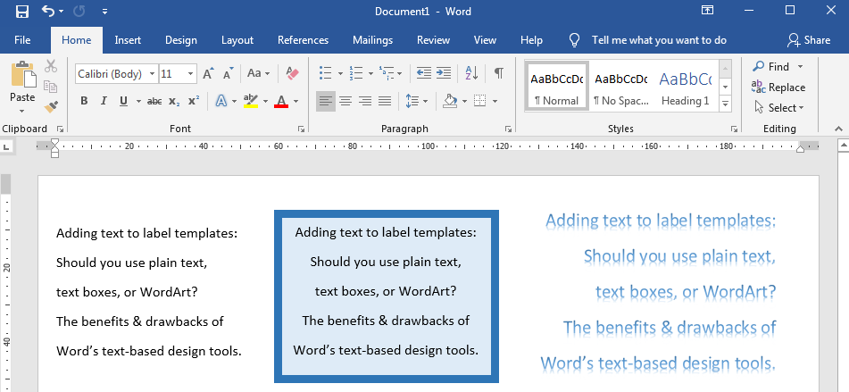 Designing Word Label Templates