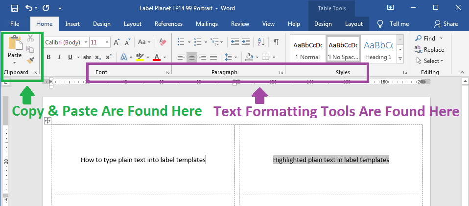 how to add plain text to label templates in word