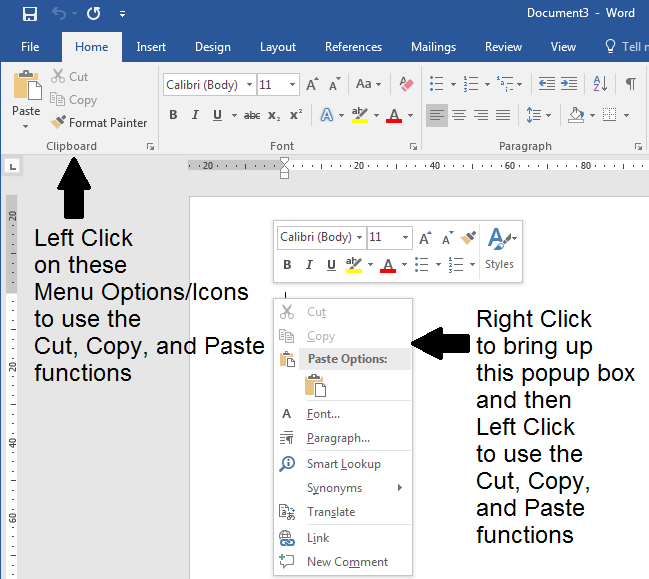How to use point and click to cut, copy, and paste
