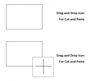 Drag and drop icon for cut and paste