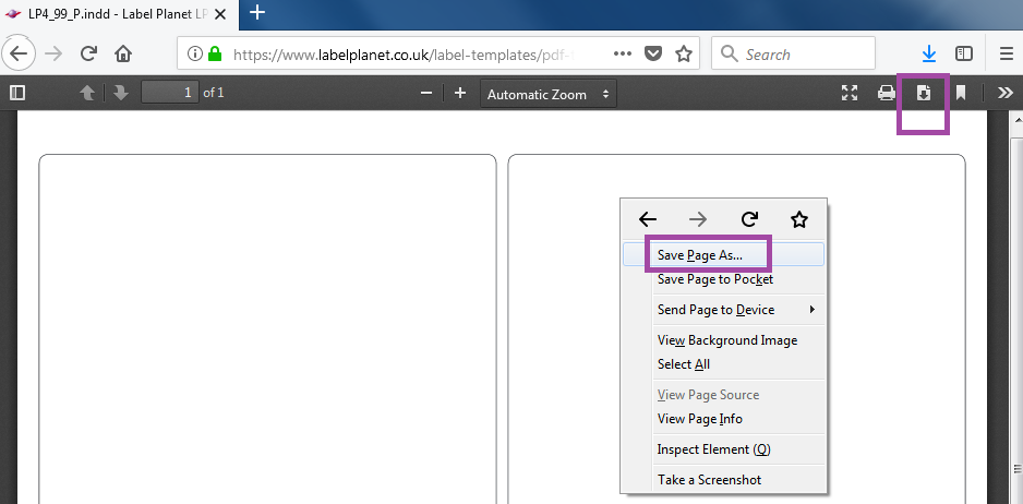 Downloading PDF label templates in Firefox Browser
