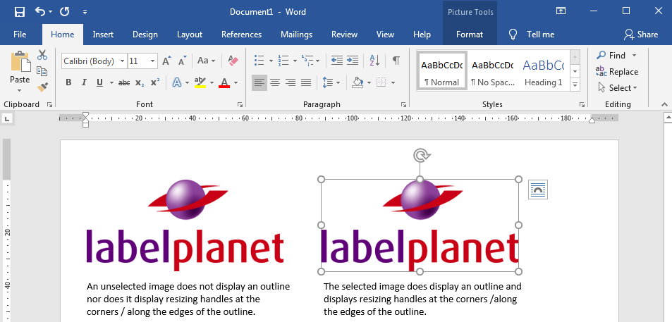 Selecting an image in Word Label Templates