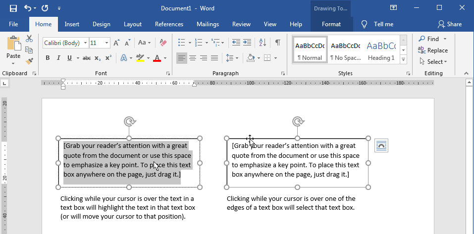 Selecting a text box in Word Label Templates