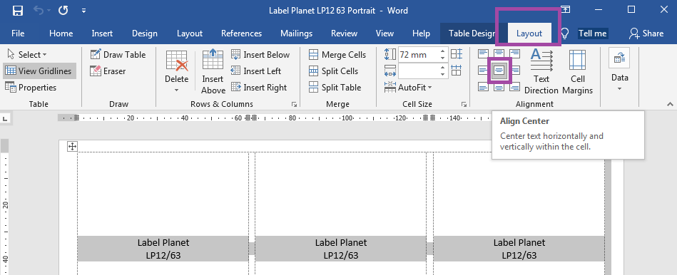 How to centrally align label templates