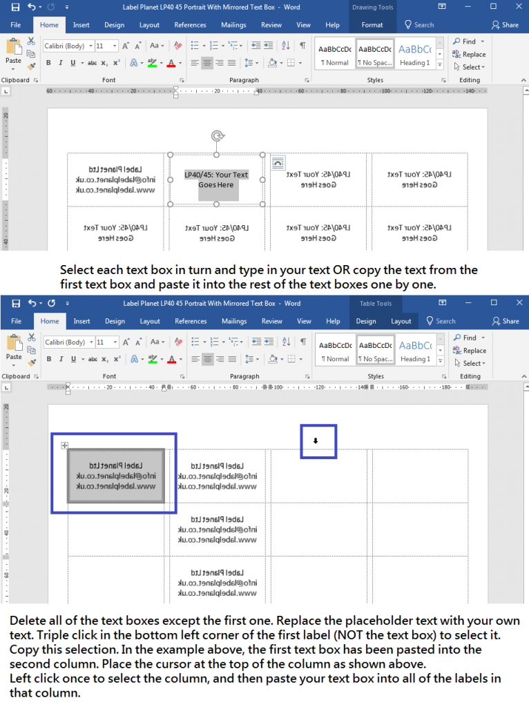 How to add text to mirrored text box in Word