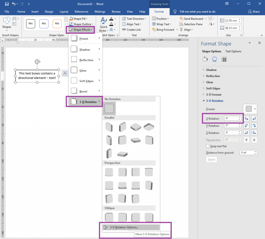 How to reverse text boxes and WordArt in Word mirrored label templates