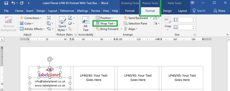 How to add an image to a text box label template