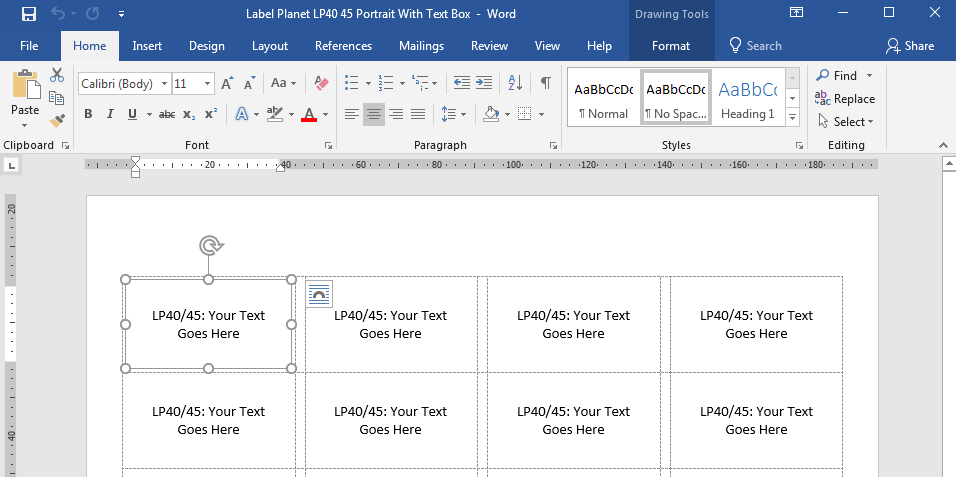 What are text box label templates in Word