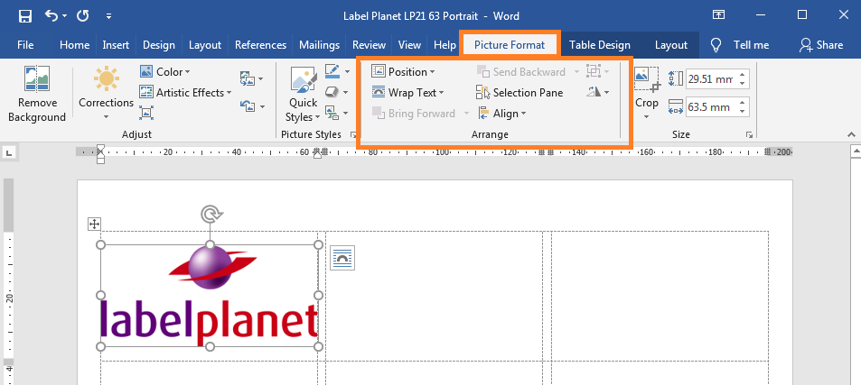 How to find Word's arrange tools for label templates