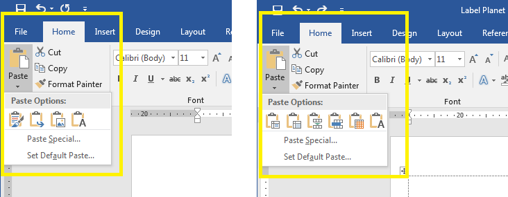 How to find the Paste Options available in Word